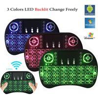 bunte drahtlose tastatur großhandel-Bunte hintergrundbeleuchtung i8 + mini tastatur drahtlose gaming tastaturen air maus fernbedienung für pc pad