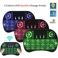 renkli pc mouse toptan satış-Renkli Arka Işık i8 + Mini Klavye Kablosuz Oyun Klavyeleri PC Mouse için Hava Fare Uzaktan Kumanda Google Andriod TV Kutusu Xbox360 PS3 OTG