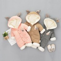 Wholesale Infant Baby Girl Outwear - INS Baby kid long sleeve winter warm cotton and cashmere hoodies romper outwear girl boy infant winter romper clothing with rabbit accessary