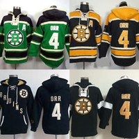 Wholesale Men S Cheap Sweatshirts - Factory Outlet Boston Bruins 4 Bobby Orr Mens 100% stitched Green Yellow Black Top Quality Cheap Ice Hockey Hoodies Jerseys Sweatshirt