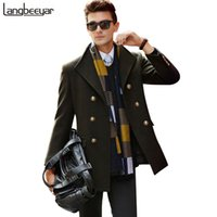 Wholesale Down Peacoat - Wholesale- Winter New Fashion Brand-Clothing Jacket Wool Coat Men Double Breasted Peacoat Turn-down Collar Wool & Blends Winter Men Coat