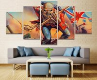 2017 5 pezzi Poster Stampa Iron Maiden Bandiere su tela di canapa Wall Art per decorazioni da parete Decorazione da parete Unique Picture Wall Wallpaper