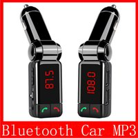 Wholesale bluetooth handsfree car kit for iphone - Car MP3 Audio Player Bluetooth FM Transmitter Wireless FM Modulator Car Kit HandsFree LCD Display USB Charger