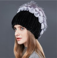 Wholesale Types Beanies Hats - LUCKYFUR Real Mink Fur Winter Hats For Women Patchwork Rex Rabbit Fur Hat Female Tree-Type Rhinestones Warm Beanies Elegant