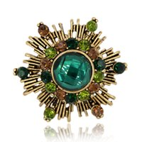 Wholesale Brooch Antique Vintage - Wholesale- Firework Brooch Pin Crystal Rhinestone Hat Bag Accessory Vintage Antique Gold Tone Fashion Jewelry