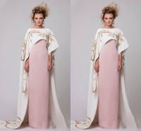 vestido bainha de linho venda por atacado-Luz rosa Vestidos de noite do vintage com jaqueta Bateau ouro bordado Vestidos de baile bainha do assoalho-comprimento Arábia Saudita Custom Made vestidos formais