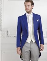 Wholesale Men S Long Suit Tailcoat - Latest design men suits tailcoat Royal Blue Groom suits Tuxedos Peak Lapel Groomsmen tuxedos Mens Wedding Suits (Jacket+Pants+Vest)