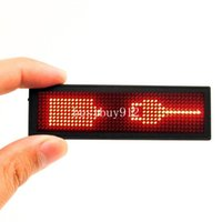 Wholesale Name Led - Red LED Name Tag, Reuseable Price Tag Rechargeable Business Card Screen with 44x11 Pixels USB Programming Digital Sign Temperature Display