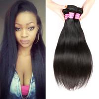Wholesale hair per bundle resale online - Sale Brazilian Peruvian Malaysian Indian Cambodian Mongolian Virgin Human Hair Weaves Natural Color B g Per Straight Hair Bundles