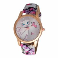 Wholesale Cat Dress Womens - Lovely cat printing watches kitten love heart watch fashion diamond dress quartz watches womens girls leather flower leisure wristwatches