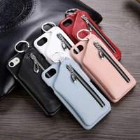 Wholesale Deluxe Ring Case - Deluxe Zipper Genuine Leather Back Case for iPhone 6 6s 7 7 Plus 4.7 5.5 Cellphone Cover with Finger Ring Holster