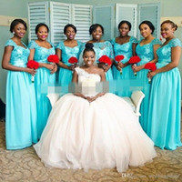 spring rivers - Sparkly River Blue Long Bridesmaid Dresses African Applique Lace Chiffon Floor Length Maid Of Honor Gowns With Cap Sleeves