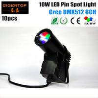 Wholesale Pinspot Led - Mini Size 10pcs lot 10W Cree LED Pinspot Light DMX Led Beam Scan RGBW 4IN1 American DJ Pinspot DMX Lights pinspot led TIPTOP CE