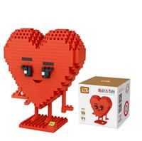 Wholesale mini heart toy - 2017 Popular DIY Lovely heart emoji package Mini Building Nanoblock Toy For Kids Birthday Present