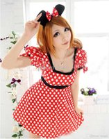 Wholesale Minnie Mouse Halloween Costumes - Wholesale-Adult Women Minnie Mouse Costume Halloween Clubwear Fashion Outfit Fancy Dress