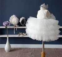 yürümeye başlayan doğum günü kıyafetleri toptan satış-Toptan-Yenidoğan Beyaz Elbise Vaftiz Elbisesi Bebek Kız 1st Doğum Günü Kıyafetler Bebek Parti Elbise Tül Tutu Elbise Toddler Kız Giysileri Için