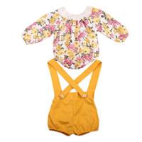 сладкая одежда оптовых-Весна осень новорожденных девочек одежда суспендер брюки с цветочным принтом боди девушки одежда набор мода сладкий девушки бутик одежда