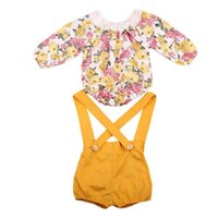 Wholesale sweet grass for sale - Group buy Spring Autumn Baby Girls Clothes Suspender Trousers with Floral Print Bodysuit Girls Clothing Set Fashion Sweet Girls Boutique Clothes