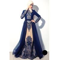 abendkleid lange blaue stickerei großhandel-2017 vintage arabischen muslimischen high neck marineblau langen ärmeln abendkleider stickerei tüll eine linie prom kleider ba4923