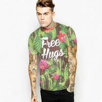 Wholesale Hugs Pictures - Free Hugs T shirt Street cactus design short sleeve Whole picture tees Cool printing clothing Unisex cotton Tshirt