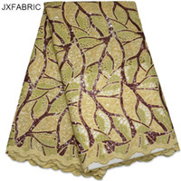 Wholesale Organza Lace Fabric Handcut - JXFABRIC African Organza Lace Fabric 2017 High Quality Lace Handcut Double Organza Net Lace With Sequins For Sewing Accessories
