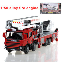 Wholesale Die Cast Toys - Wholesale- Alloy engineering lift up fire engine vehicle model 1:50 aerial fire truck ladder support original die cast model toy 625014