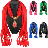 Wholesale Winter Scarves Rhinestones - Wholesale- 2016New Women's Autumn Winter Scarves Droplets Pendant Necklace Scarf Rhinestone Charm Jewelry Tassel Warm Scarf Bufandas Mujer