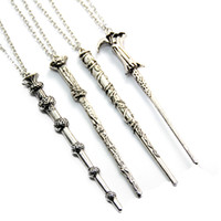Wholesale Chains For Bronze Necklaces - Vintage Harry Movie Inspired Magic Wand Pendant Necklace Antique Bronze Silver for Potter Head Gift CX318