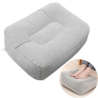 Wholesale Train Pillows - New PVC Gray Train Flight Travel Inflatable Foot Rest Pillow Portable Pad Mat Footrest Pillow Home Outdoor Foot Relief Cushion