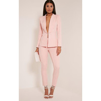 Wholesale Ladies Business Trousers - New Light Pink 2017 fashion womens business suits ladies elegant formal pant suits for weddings female trouser suits Custom