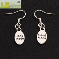 Wholesale Tin Tags Wholesale - Handmade Oval Tag Earrings 925 Silver Fish Ear Hook 40pairs lot Antique Silver Chandelier E380 32.7x8.1mm