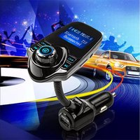 Wholesale Flac Mp3 - T10 Car Wireless MP3 FM Transmitter LCD Display Bluetooth V3.0+EDR Handsfree Kit Support U Disk FLAC TF Card Handsfree Calling OM-K1