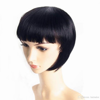 Wholesale Cute Brazilian Hair Lace Wigs - Hair Products 10 inch Short Straight Bob Wig Human Hair Cheap Price Machine Made Non Lace Cute Short Wig With Bang