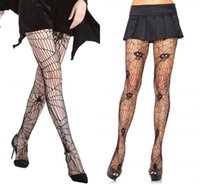 Wholesale Tights For Costumes - 50pcs Spider and Skeleton Printed Tights for Women Pantyhose Fishnet Sexy Stockings for Party Halloween RF0156 RF0157