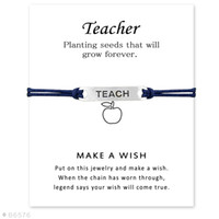 Wholesale friendship signs resale online - Silver Tone Sign Teacher Charm Bracelets Bangles Gifts for Women Girls Adjustable Friendship Statement Jewelry With Card