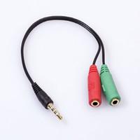адаптер hdmi для кабельной коробки оптовых-Аудио стерео разъем Spliter кабель 3.5 мм 1 мужчин и 2 женщин адаптер 4 штекер линии наушников голосовой ящик микрофон наушники для компьютера 50 шт.