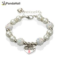 Wholesale Cancer Shamballa - ead bracelet charm 12pcs shamballa Bracelets Glass Pearl Beaded for Breast Cancer Awareness with Alloy Enamel Pink Ribbon Pendants Rhines...