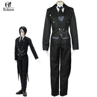 Wholesale Butler Outfit - Rolecos Anime Black Butler Sebastian Michaelis Cosplay Costumes Black Uniform Outfit Halloween Costumes