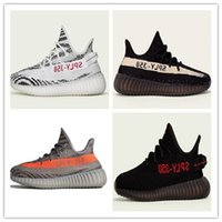Wholesale Womens Flat Tassel Boots - 2017 Sply 350 Mens and Womens Running Shoes New Arrivals Boost 350 V2 Grey Orange Stripes Zebra Bred Black Red 350 v2 Boosts Boots With Box