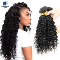 Wholesale Cheap Malaysian Deep Curly - Kiss Hair Virgin Brazilian Deep Curly Virgin Hair Extensions Brazilian Deep Wave 4 Bundles Cheap Peruvian Indian Human Hair Weave Bundles