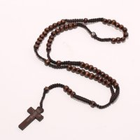 Wholesale Wooden Necklace Cross Men - Men Women Catholic Christ Wooden 8mm Rosary Bead Cross Pendant Woven Rope Necklace Black brown Beige ligt brown
