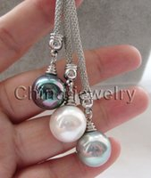 """Wholesale Gray White Pearl Necklace - P6301-24"""" 3bead 14mm white + black + gray perfect round sea shell pearl necklace"""