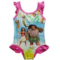 Wholesale Swimsuits For Baby Cartoons - Baby Girls Moana One-Pieces grenadine Swimsuit New children cartoon moana sling kids Bikini swimming for 3~9years B001