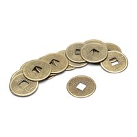 Wholesale Phoenix Ceramics - Wholesale- 100PCS Brass 24mm Chinese Ancient Feng Shui Lucky Coin Good Fortune Dragon and Phoenix Antique Wealth Money Collection Gift