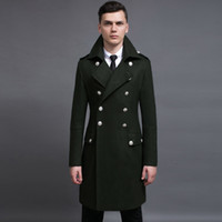 Wholesale Germany Coat - Wholesale- Design mens coats and jackets S-6XL oversized tall and big men green woolen coat germany army navy pea coat free shipping
