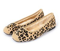 Donne Flats Fashion brand classic oft stitching Ladies OL balletto Super soft antiscivolo horse hair Leopard peluche scarpe casual plus size