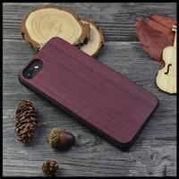 Wholesale Bumper Iphone Genuine - Beautiful Eco Violet Wood Cellphone Case For iPhone 7 6 7 Plus Natural Genuine Fashion Purple Wooden Plastics Cases Protective Bumper Cover