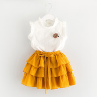 Wholesale Girls Outfit Skirt - Everweekend 2017 Girls Summer Lace Tee and Ruffles Cake Skirts 2pcs Sets Outfits Sweet Children Cute Clothing