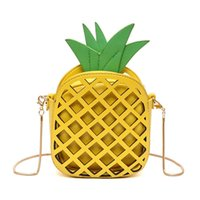 Wholesale Mini Handbags For Girls - 2017 Women Bags Yellow Leather Cute Handbag For Women Lovely Pineapple Girl Messenger Bag With Chain Hollow Out PU Mini