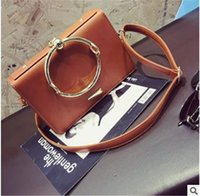 Discount metal body bags - 2018 hot selling handbags fashion women metal ring fashion leather tote bag designer handbags free shipping